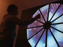 A photo of Kaleidoclock interactive video installation